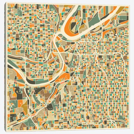 Abstract City Map of Kansas City Canvas Print #JBL101} by Jazzberry Blue Canvas Artwork