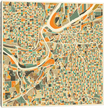 Abstract City Map of Kansas City Canvas Art Print