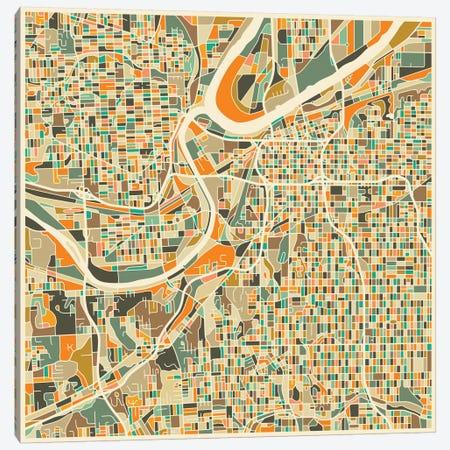 Abstract City Map of Kansas City Canvas Print #JBL101} by Jazzberry Blue Canvas Artwork