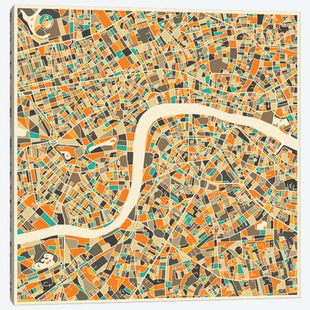 Abstract City Map of London Canvas Print #JBL102} by Jazzberry Blue Canvas Wall Art