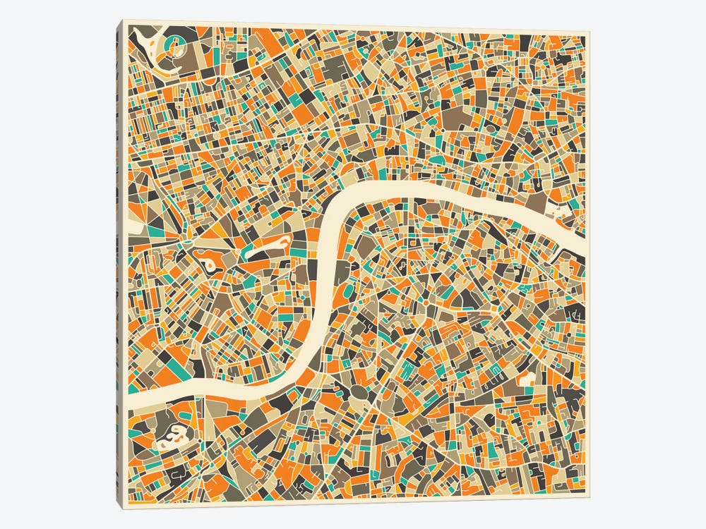 Abstract City Map of London by Jazzberry Blue 1-piece Canvas Artwork