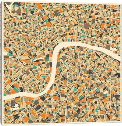 Abstract City Map of London Canvas Art Print