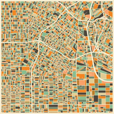 Abstract City Map Of Los Angeles Canvas Art P Jazzberry Blue - Los angeles map