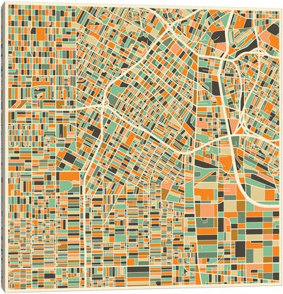 Abstract City Map of Los Angeles Canvas Art Print