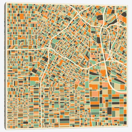 Abstract City Map of Los Angeles Canvas Print #JBL103} by Jazzberry Blue Canvas Art