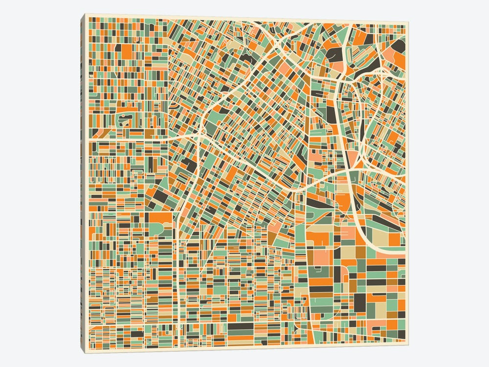 Abstract City Map of Los Angeles by Jazzberry Blue 1-piece Canvas Print