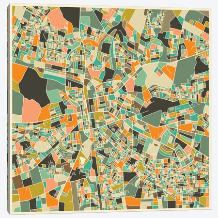 Abstract City Map of Lusaka Canvas Print #JBL104} by Jazzberry Blue Canvas Print