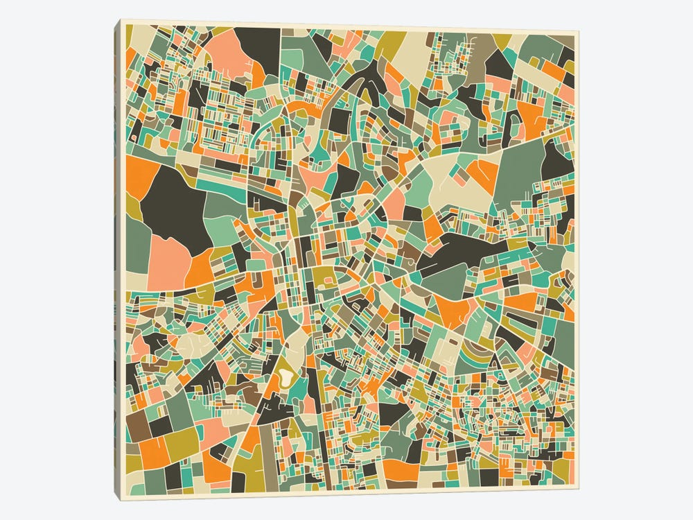 Abstract City Map of Lusaka by Jazzberry Blue 1-piece Canvas Artwork