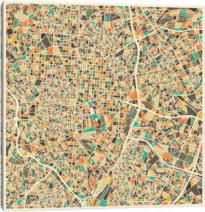 Abstract City Map of Madrid Canvas Art Print