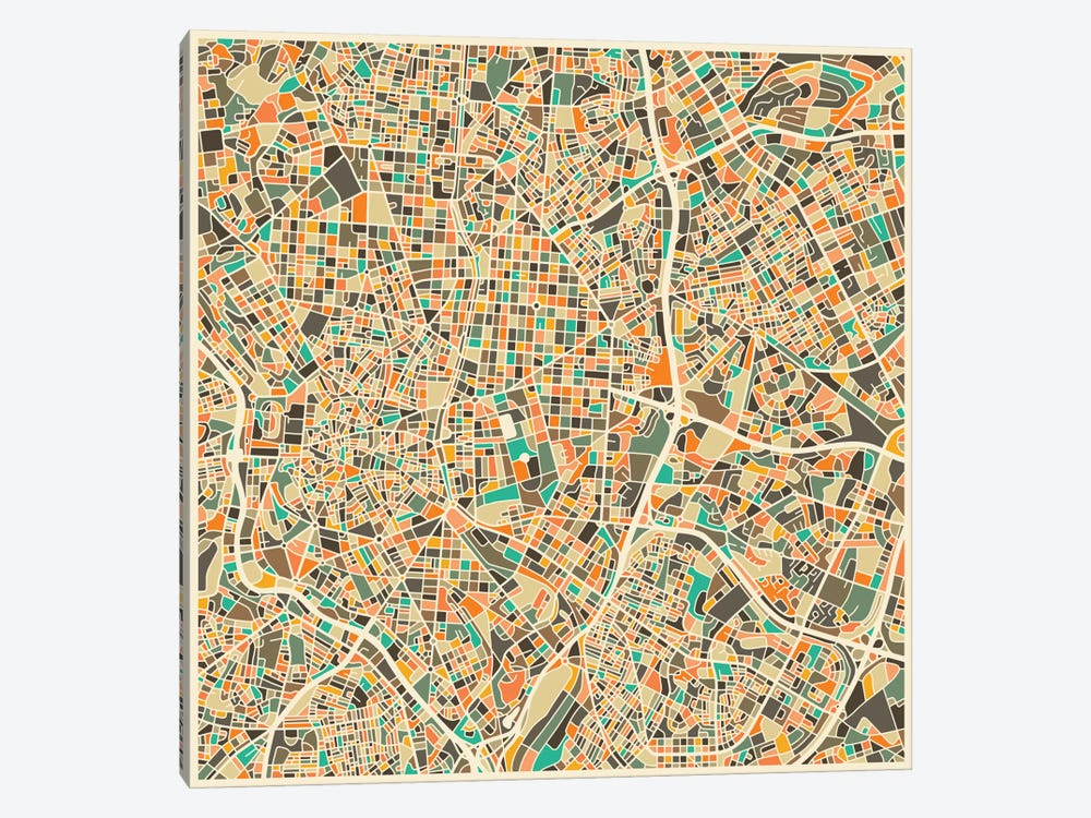Abstract City Map of Madrid by Jazzberry Blue 1-piece Canvas Art Print