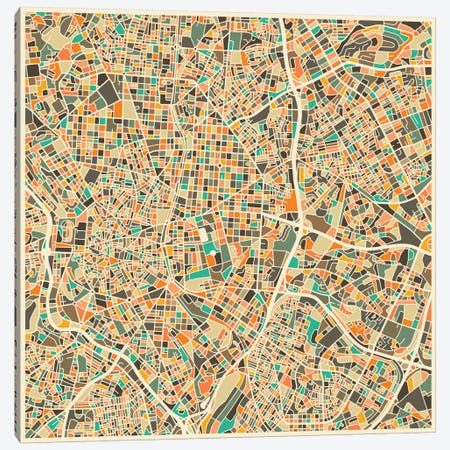 Abstract City Map of Madrid 3-Piece Canvas #JBL105} by Jazzberry Blue Canvas Print