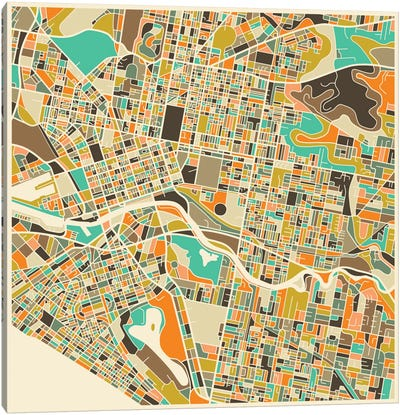 Abstract City Map of Melbourne Canvas Art Print