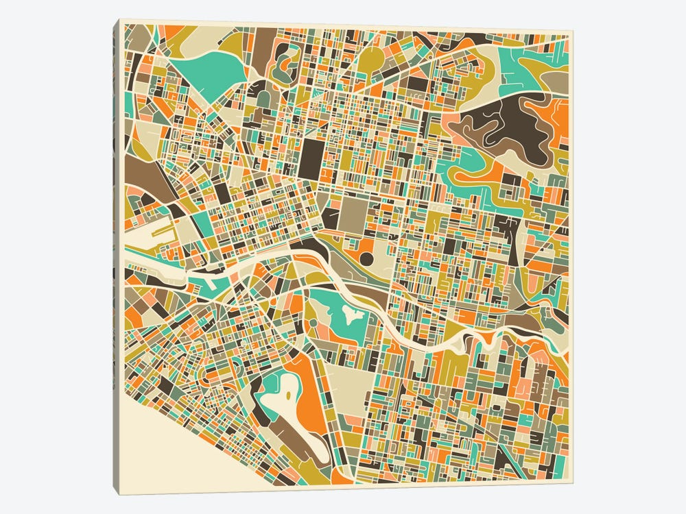 Abstract City Map of Melbourne by Jazzberry Blue 1-piece Canvas Wall Art
