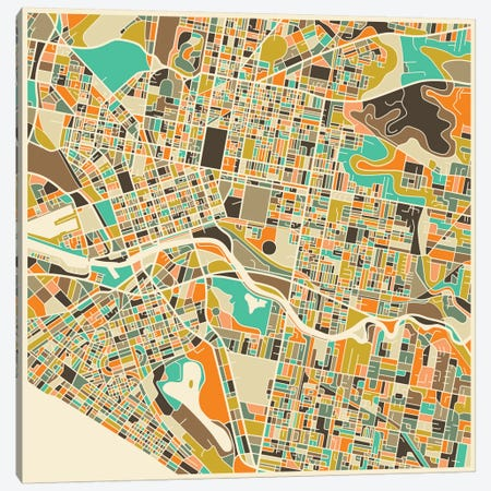 Abstract City Map of Melbourne Canvas Print #JBL106} by Jazzberry Blue Canvas Print