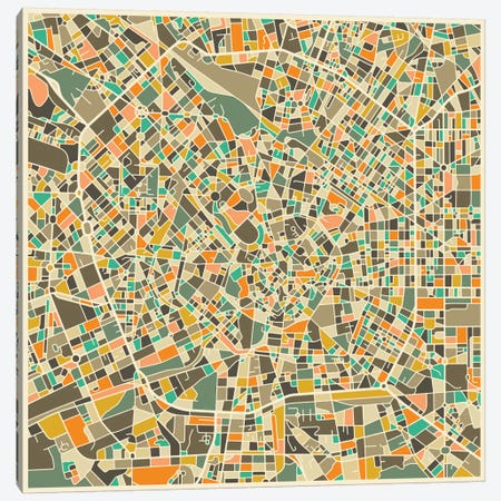 Abstract City Map of Milan Canvas Print #JBL107} by Jazzberry Blue Art Print