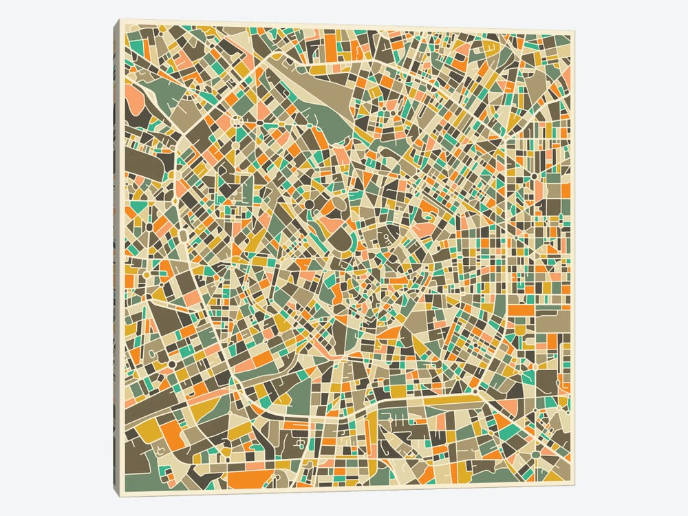 Abstract City Map of Milan by Jazzberry Blue 1-piece Canvas Print
