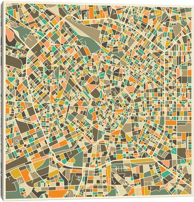 Abstract City Map of Milan Canvas Art Print