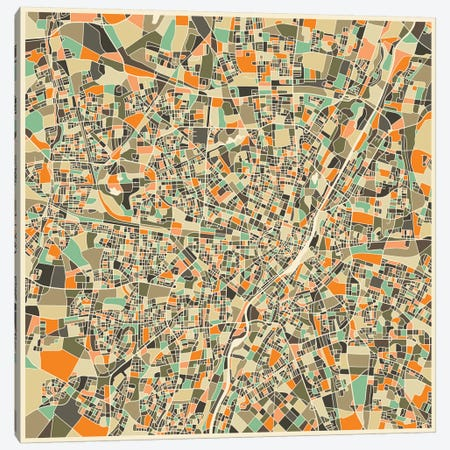 Abstract City Map of Munich Canvas Print #JBL108} by Jazzberry Blue Canvas Wall Art