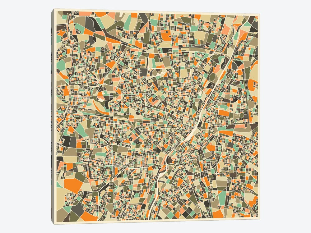 Abstract City Map of Munich by Jazzberry Blue 1-piece Canvas Artwork