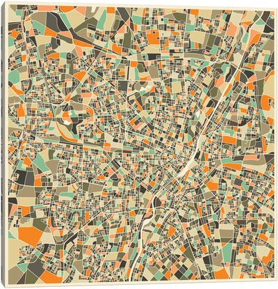 Abstract City Map of Munich Canvas Art Print