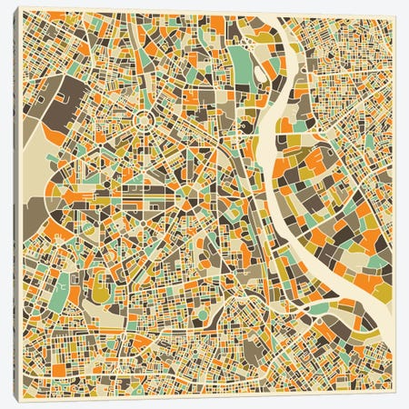 Abstract City Map of New Delhi Canvas Print #JBL109} by Jazzberry Blue Canvas Wall Art