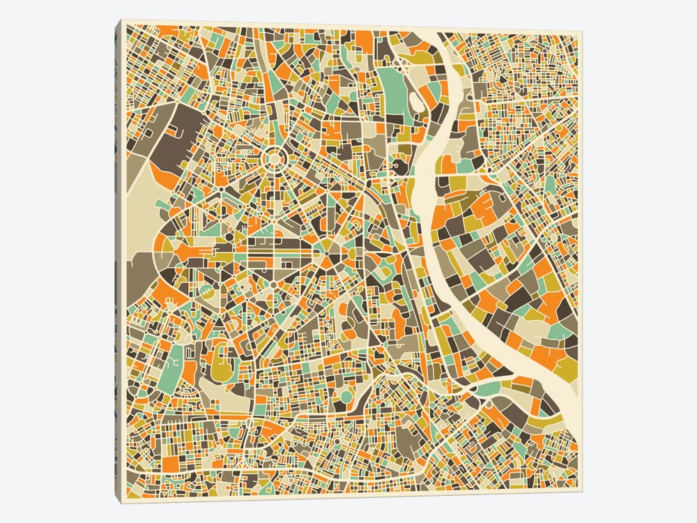 Abstract City Map of New Delhi by Jazzberry Blue 1-piece Art Print