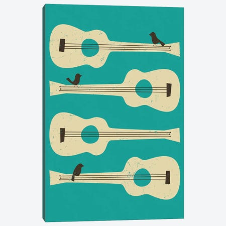 Birds On A Guitar (Blue) Canvas Print #JBL10} by Jazzberry Blue Canvas Art