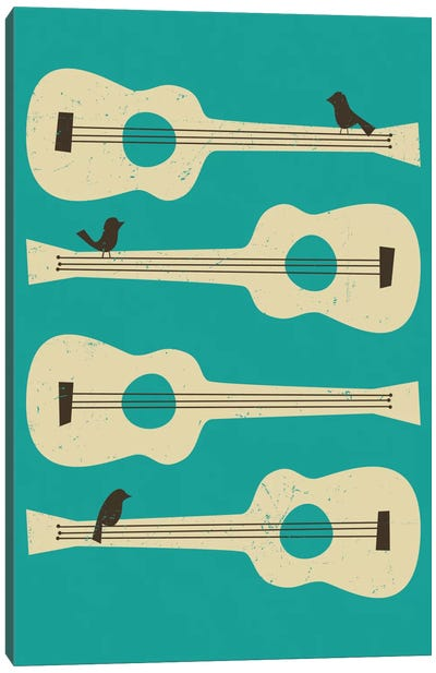 Birds On A Guitar (Blue) Canvas Art Print