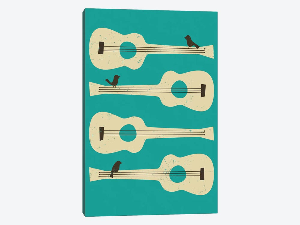 Birds On A Guitar (Blue) by Jazzberry Blue 1-piece Canvas Artwork