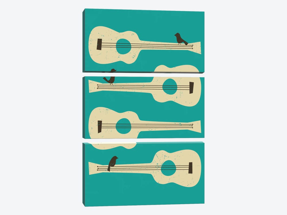 Birds On A Guitar (Blue) by Jazzberry Blue 3-piece Canvas Art