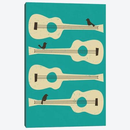 Birds On A Guitar (Blue) 3-Piece Canvas #JBL10} by Jazzberry Blue Canvas Art