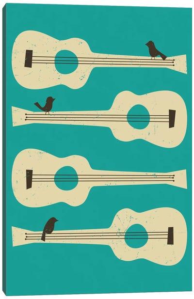 Birds On A Guitar (Blue) Canvas Art Print
