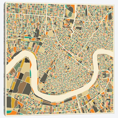 Abstract City Map of New Orleans Canvas Print #JBL110} by Jazzberry Blue Art Print