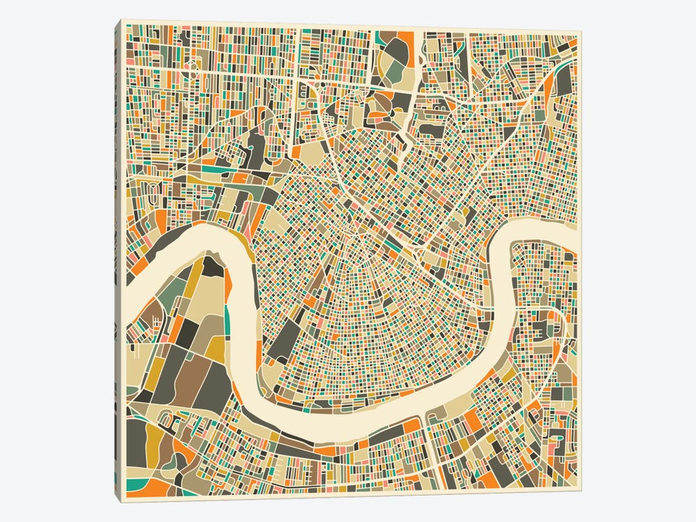 Abstract City Map of New Orleans by Jazzberry Blue 1-piece Art Print