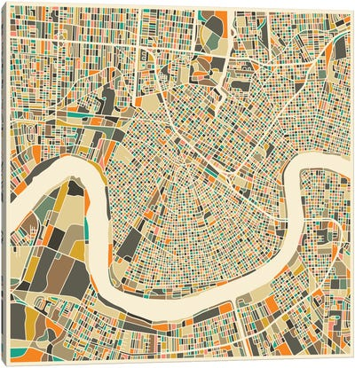 Abstract City Map of New Orleans Canvas Art Print