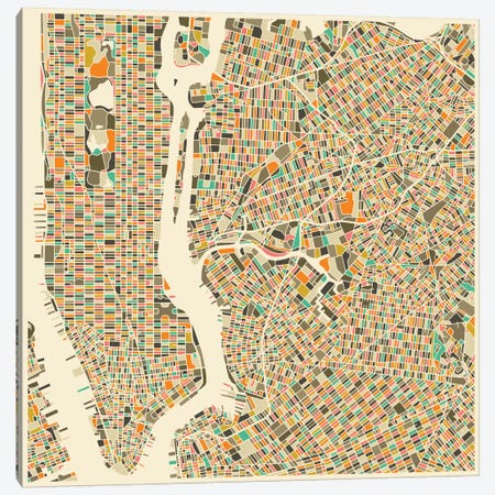Abstract City Map of New York City Canvas Print #JBL111} by Jazzberry Blue Canvas Art Print