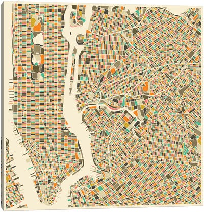 Abstract City Map of New York City Canvas Art Print