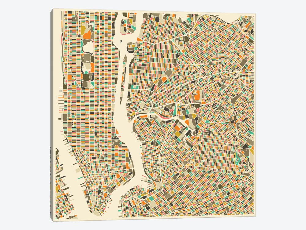 Abstract City Map of New York City by Jazzberry Blue 1-piece Canvas Artwork