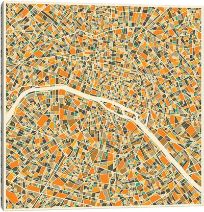 Abstract City Map of Paris Canvas Art Print