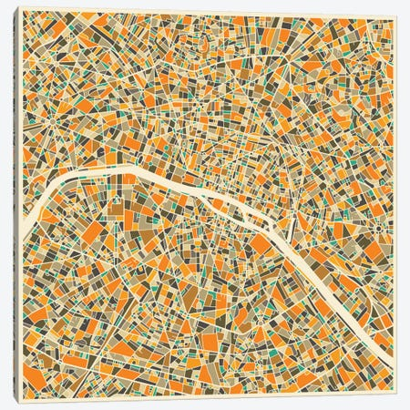 Abstract City Map of Paris Canvas Print #JBL112} by Jazzberry Blue Canvas Art Print