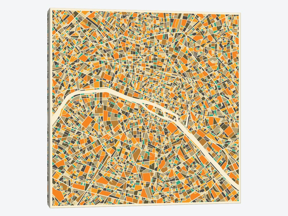 Abstract City Map of Paris by Jazzberry Blue 1-piece Art Print