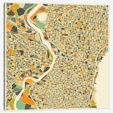 Abstract City Map of Philadelphia Canvas Print #JBL113} by Jazzberry Blue Art Print