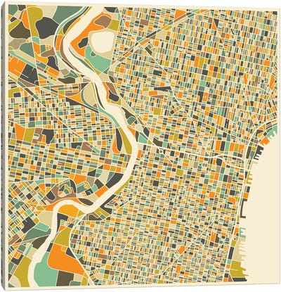 Abstract City Map of Philadelphia Canvas Art Print