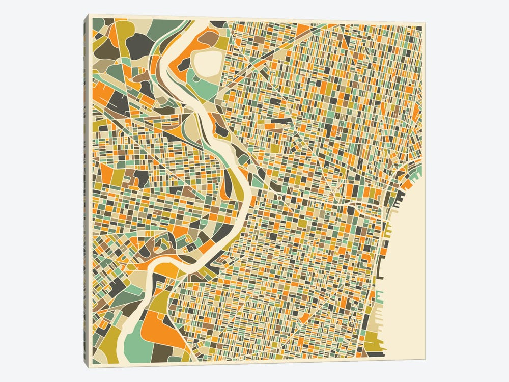 Abstract City Map of Philadelphia by Jazzberry Blue 1-piece Canvas Wall Art