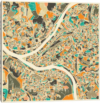 Abstract City Map of Pittsburgh Canvas Art Print