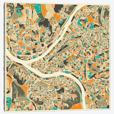 Abstract City Map of Pittsburgh Canvas Print #JBL114} by Jazzberry Blue Canvas Wall Art