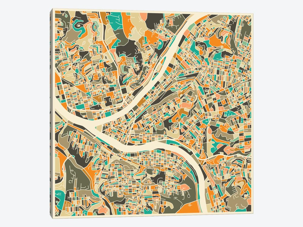 Abstract City Map of Pittsburgh by Jazzberry Blue 1-piece Canvas Art Print