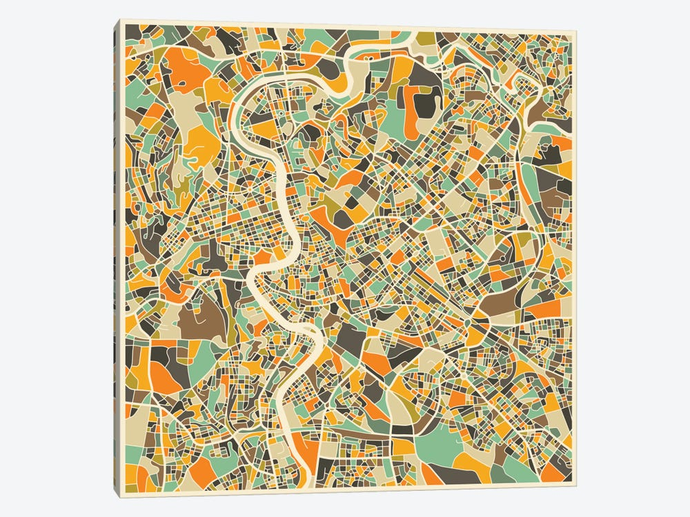 Abstract City Map of Rome by Jazzberry Blue 1-piece Canvas Wall Art