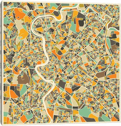 Abstract City Map of Rome Canvas Print #JBL115