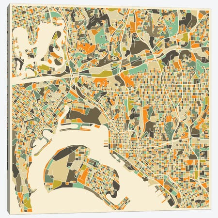 Abstract City Map of San Diego Canvas Print #JBL116} by Jazzberry Blue Canvas Artwork
